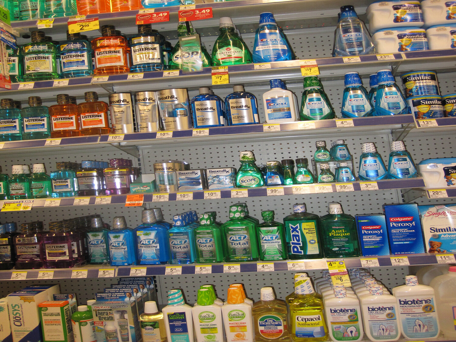 A variety of mouthwash options on a store shelf